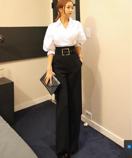 Clobee韓国OLスタイルフォーマルオフィスワークウェアズボン2018春女性エレガントレトロソリッドブラックハイウエストワイドレッグパンツ 3919