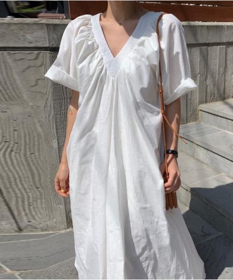 2019年夏の新しい韓国風のAラインVネックハイウエストフロアランタンスリーブルーズレディース服トレンドの女性のドレス 3997