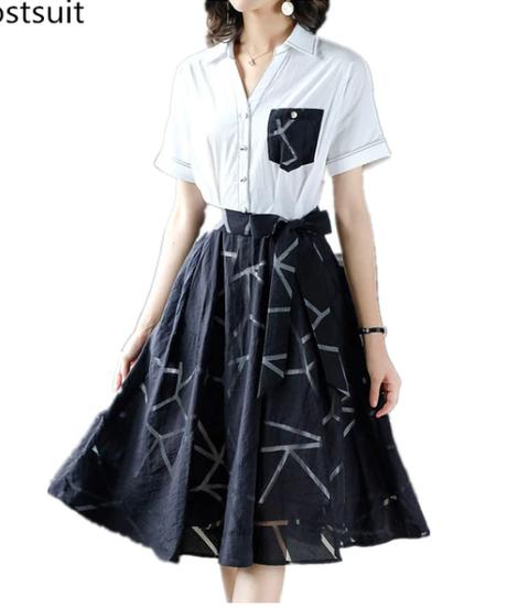 2019夏のオフィスプリーツドレス女性プラスサイズ半袖ラインOLスタイルエレガントな韓国のファッションドレス 2343