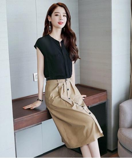 カジュアルな夏2019新しい女性のロングスカートファッション気質エレガントな野生のツーピースとスリム半袖シャツ 4642