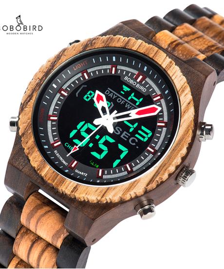 BOBO BIRD メンズデジタル木製腕時計ナイトライトウィークディスプレイ時計