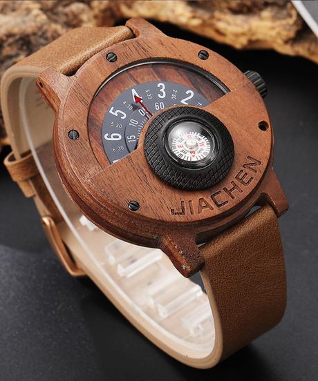 【全3色】 Gorbenユニークなコンパスデザインメンズ木製時計男性ブラウンウッドレザーバンドクリエイティブナチュラルウッド腕時計