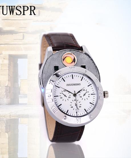 YUWSPRライターウォッチUSB USB充電式クォーツクロックミリタリーフレームレスライター腕時計