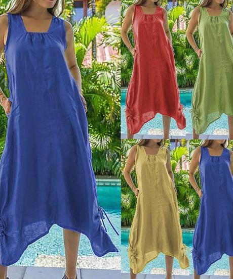 OSTRICHコットンとリネンのドレス女性カジュアルカジュアルビッグサイズソリッドカラーノースリーブ包帯ソフトビーチカジュアルドレス 5994
