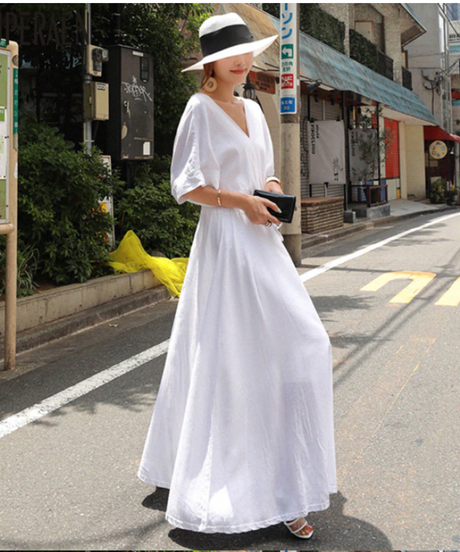 SuperAenコットンとリネンのドレス女性夏新2019ルースプラスサイズのドレス女性半袖Vネック女性服 5070