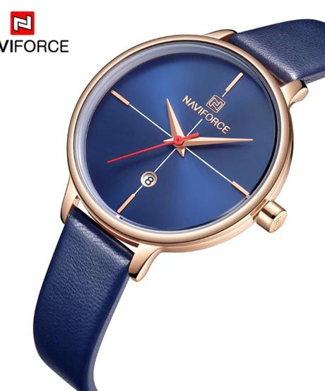 【全4色】 NAVIFORCE女性腕時計ファッションクォーツレディーブルーpu時計バンド日付カジュアル3 atm防水腕時計