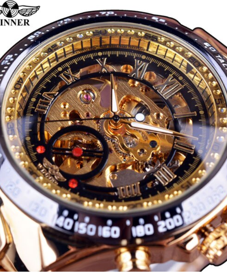 【全11色】 WINNER スポーツデザインベゼルゴールド腕時計メンズ腕時計トップブランドの高級モントレオム時計男性自動スケルトン時計