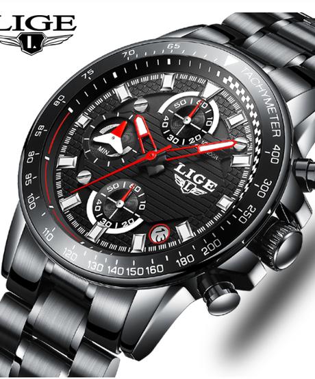 【全4色】 LIGEトップ高級ブランメンズ腕時計フルスチール時計スポーツクォーツ時計メンズカジュアルビジネス防水時計
