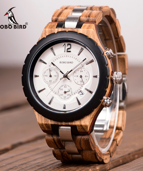 BOBO BIRD メンズ腕時計ラグジュアリーエレガントウッドメタルクロノグラフデイトウォッチ