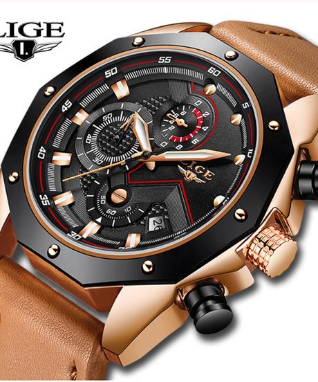 【全4色】 LIGEメンズ腕時計トップブランドの高級クォーツゴールドウォッチメンズカジュアルレザーミリタリー防水スポーツ腕時計