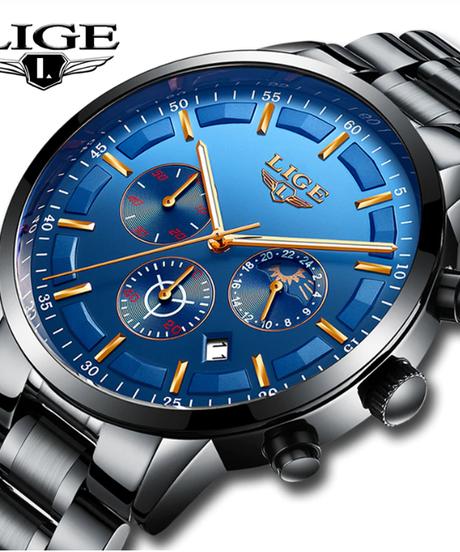 【全8色】 LIGE2018腕時計男性ファッションスポーツクォーツ男性腕時計トップブランドの高級ムーンフェイズビジネス防水腕時計