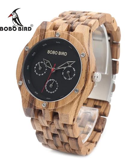BOBO BIRD 木製腕時計高級ゼブラウッドバンドクォーツ時計