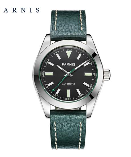 【全4色】 Parnis40mmメカニカルサファイアクリスタルカジュアルレザーミヨタ8215メンズ自動腕時計