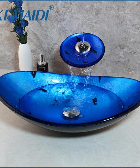 KEMAIDI バスルームウォッシュコンボキット強化ガラスシンク+滝ソリッドブラス蛇口ブルーシンクセット付きポップアップドレイン