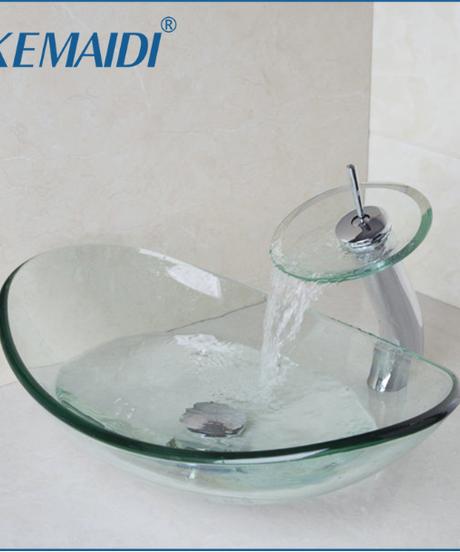 KEMAIDI インゴット形状ラウンドバスルームアートシンクオーバルクリア強化ガラス容器シンク滝クローム蛇口セット