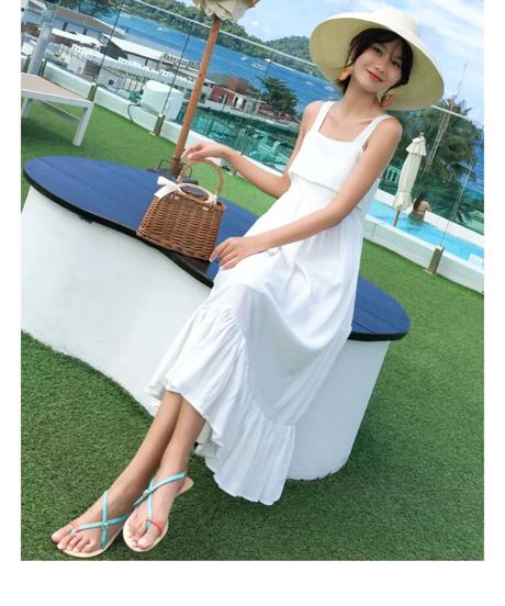 2019年夏の新しい女性服穏やかな妖精甘い雰囲気の純色背中が大きく開いたベビードレス 3163