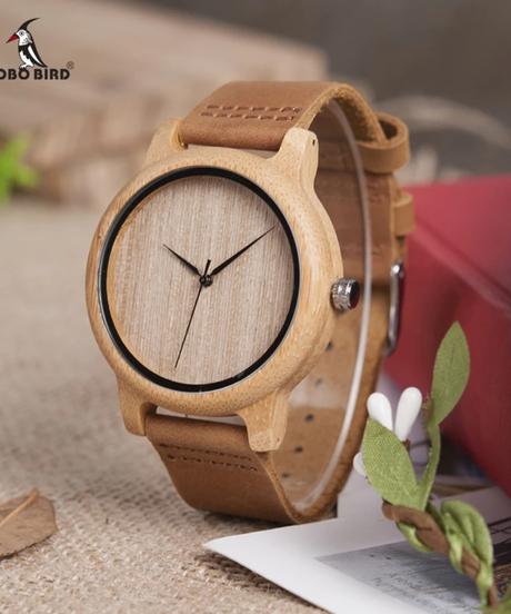 BOBO BIRD ウォッチメンズウォッチバンブーウッドウォッチ男女兼用ソフトレザーストラップ木製腕時計ファッション腕時計