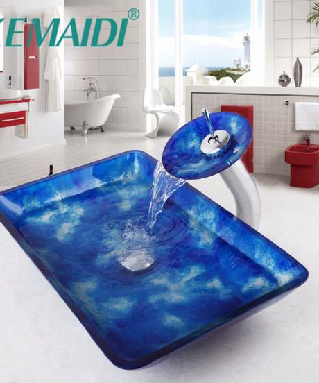 KEMAIDI 浴室の流し芸術的な強化ガラス容器のハンドペイントカウンターボウル容器強化ガラスのシンクの蛇口セット