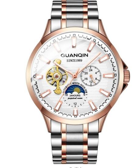 【全7色】 Guanqin 2019ビジネスウォッチ男性自動発光時計男性トゥールビヨン防水機械式時計最高のブランドレロジオ