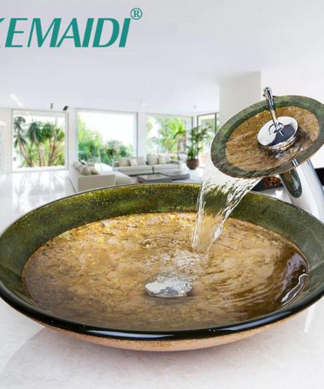 KEMAIDI 浴室勝利容器シンク強化ガラスシンククローム滝蛇口セットカウンターシンクシンク