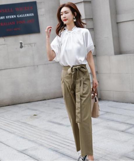ショートポケット春新しいファッション2個セットカジュアルシフォンズボン女性スーツセット 8949