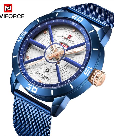 【全5色】 NAVIFORCEメンズ腕時計トップブランドの高級スポーツウォッチメッシュスチール日付ウィーク防水クォーツ時計用男性時計