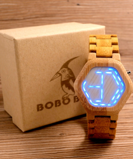 BOBO BIRD LEDウッドメンズウォッチデジタルクロックメンズナイトビジョンカレンダークォーツ腕時計
