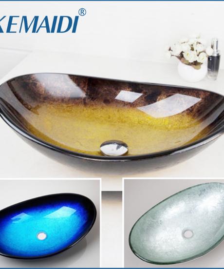KEMAIDI 強化ガラス手塗り滝注ぎ口盆地黒浴室のシンク洗面台オーバーフローポップドレイン