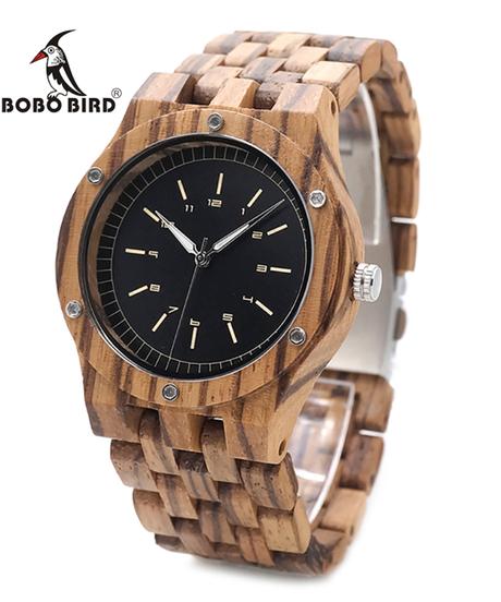 BOBO BIRD 木製腕時計メンズブランド高級ゼブラウッドバンドクォーツ時計
