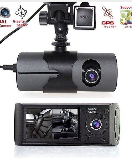 R300デュアルレンズダッシュカム2.7 フルHD車DVRカメラビデオレコーダーW / GPSロガー ※メモリーカード無し※