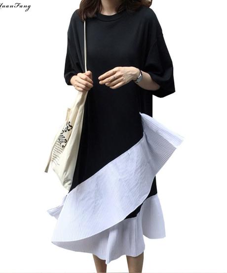 プラスサイズの女性のカジュアルドレス夏2019 黒半袖コットン tシャツドレスパッチワーク空プリーツフリルドレス 4970