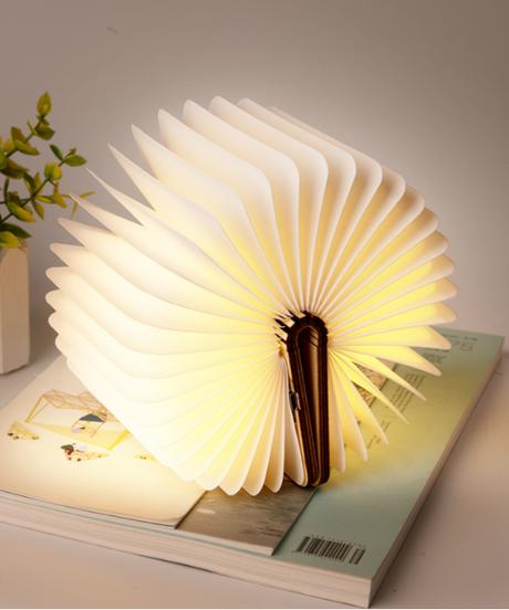 磁気折りたたみウッドブックライトブックシェイプランプナイトライトポータブルusb充電式ledランプ