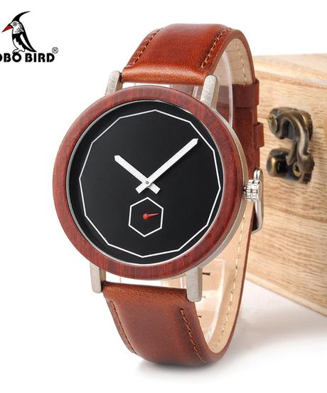 BOBO BIRD ローズ白檀金属アナログクォーツ腕時計メンズラグジュアリーフル赤木材バンドファッションブランドデザインシンプルなクォーツ木製時計