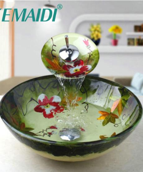 KEMAIDI 強化ガラス製洗面台シンク洗面台蛇口セットカウンタートップトイレ洗面台洗面化粧台シンクとバスルーム蛇口