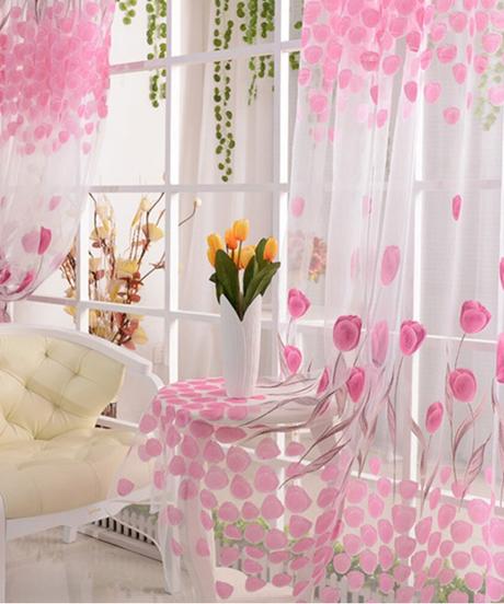 カーテン暖かいチューリップ花スカーフ薄手ボイルドア窓カーテンドレープパネルバランス