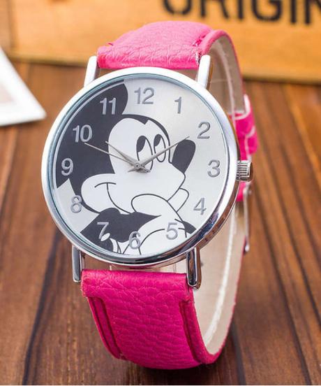 Zegarki meskie かわいいミッキーマウスの漫画の腕時計ドレスクォーツ腕時計