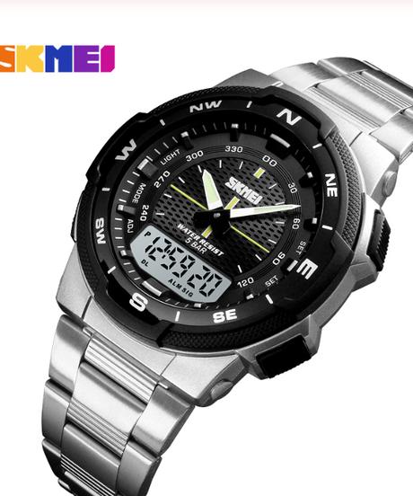 【全6色】 SKMEI男性腕時計ファッションクォーツスポーツ時計ステンレス鋼メンズ腕時計トップブランドの高級ビジネス防水腕時計