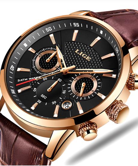 【全5色】 LIGEメンズ腕時計トップブランドの高級レザーデイリークォーツ時計メンズミリタリースポーツ防水時計