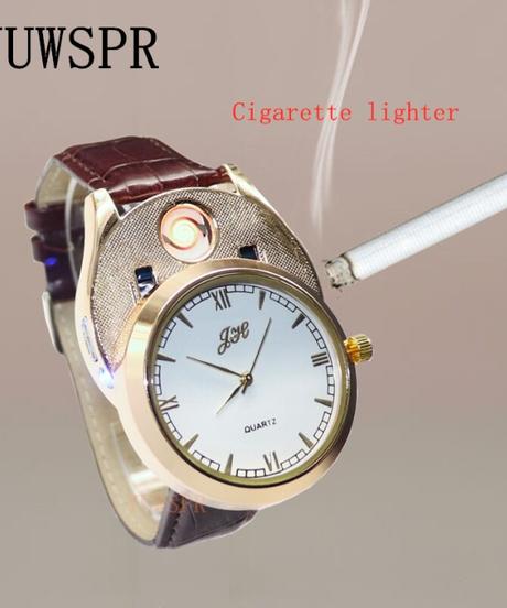 YUWSPRライター腕時計USB充電式ファッションクォーツ時計防風フレームレスライターウォッチ