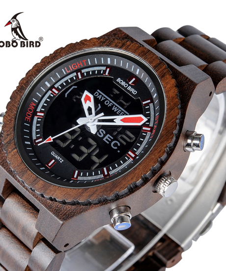 BOBO BIRD 木製バンドメンズウォッチデジタル腕時計ナイトライトウィークディスプレイ腕時計木製腕時計ファッション時計