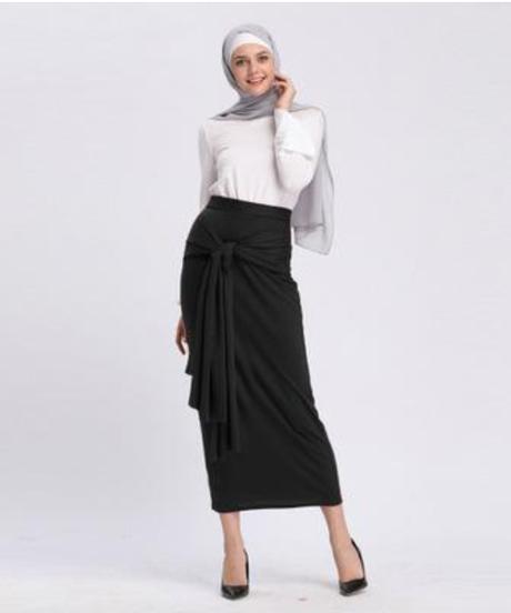 ファッション女性ロングイスラム教徒スカートイスラム服アバヤドバイトルコムスマンニットコットンペンシルスカートラマダンジュペ 9082