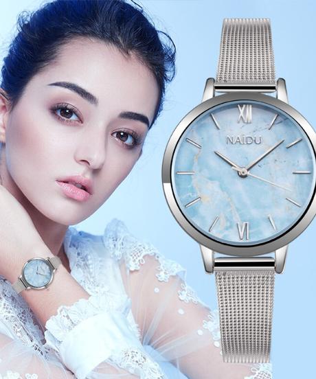 NAIDU2018ファッションメタルメッシュ時計シンプルクラシックカジュアルクォーツ高品質時計