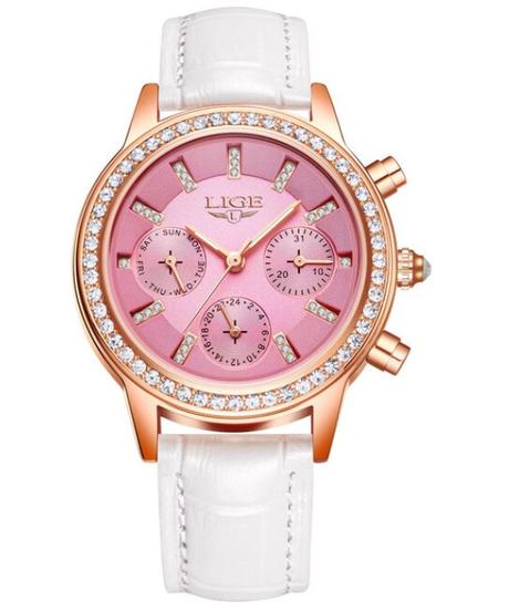 【全5色】 LIGE高級ブランド女性ドレスウォッチレディース防水レザークォーツ時計女性ダイヤモンドの腕時計