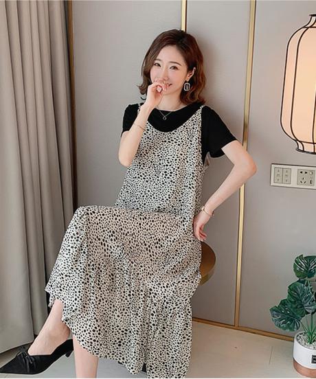女性の服セット夏半袖コットンTシャツ+水玉ストラップシフォンドレスセットマタニティドレススーツ 7475