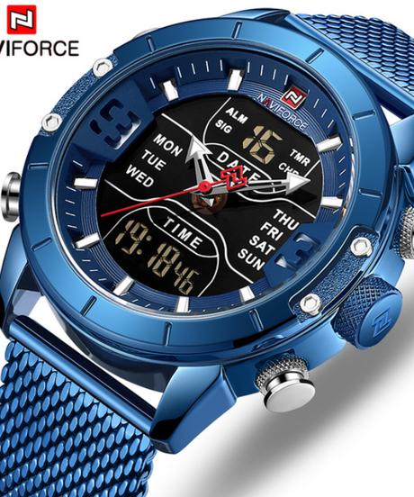 【全5色】 NAVIFORCE男性腕時計トップ高級ブランド男性ミリタリースポーツクォーツ腕時計ステンレス鋼LEDデジタル時計