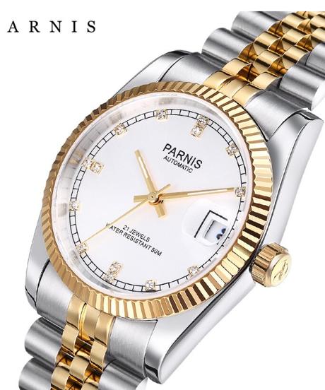 【全7色】 Parnis男性腕時計2018高級ブランドゴールド自動腕時計ダイヤモンドステンレスブレスレットウォッチ
