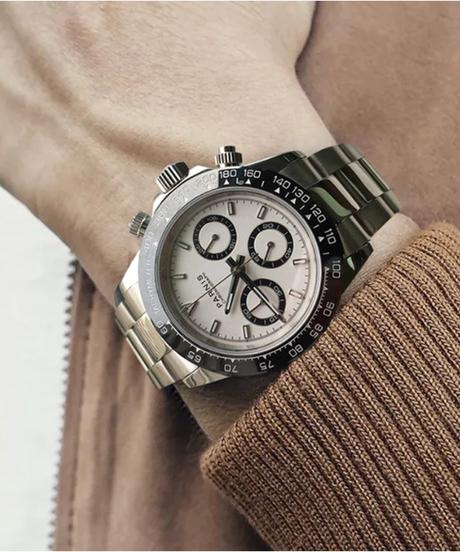 【全9色】 Parnisクォーツクロノグラフ時計男性トップブランドの高級パイロットビジネス防水サファイアクリスタル腕時計