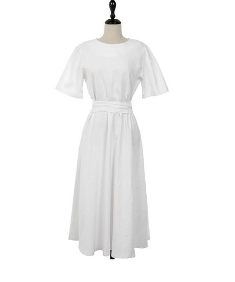 2019年夏のドレスの女性のための綿と麻のレトロなソリッドカラーのハイウエストレース半袖ドレス 2633