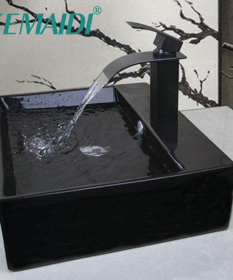 KEMAIDI 長方形バスルームシャンプーブラックORBセラミックカウンターボウルシンクシンク容器ポップアップドレイン付き蛇口セット