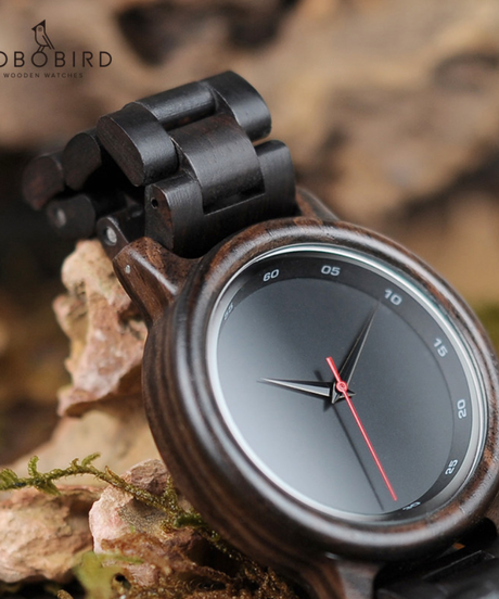 BOBO BIRD 木製時計メンズブラックウッドストラップクォーツ時計アナログ時計ファッション時計